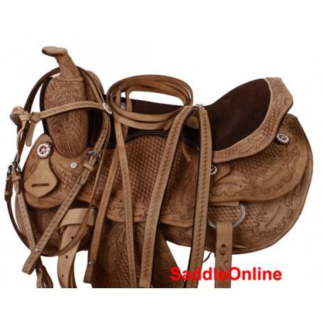 Premium Hand Carved Western Saddle Tack 15