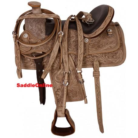 Hand Carved A Fork Western Leather Saddle & Tack 17