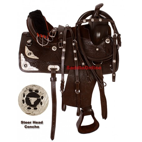 Draft Horse Leather Silver Show Saddle W Tack 16
