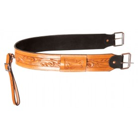 Western Horse Saddle Back Cinch Rear Girth Buckle Tooled Leather Strap