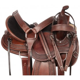 Gaited Round Skirt Comfy Western Tooled Leather Pleasure Trail Horse Saddle Tack