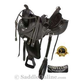 Black Gaited Western Endurance Horse Saddle Tack 16 17