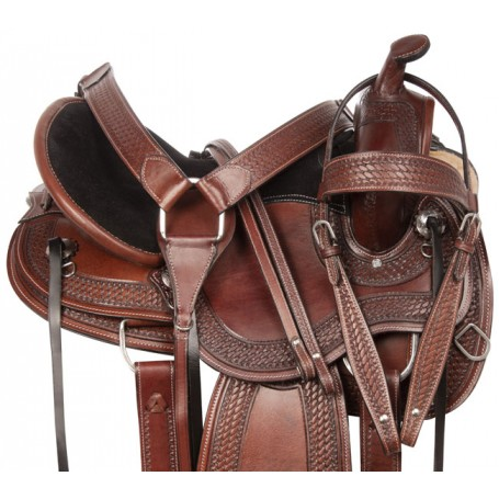 Comfy Cush Round Skirt Western Tooled Leather Pleasure Trail Horse Saddle Tack