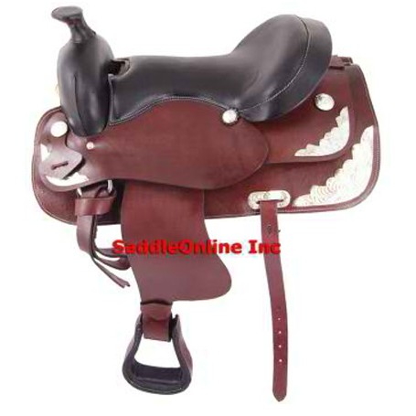 NEW  WESTERN HORSE SHOW SADDLE /W SILVER TACK