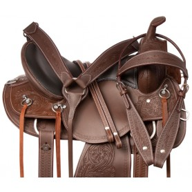 Western Pleasure Trail Riding Comfy Seat Leather Tooled Horse Saddle Tack Set
