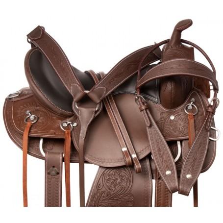 Western Pleasure Trail Riding Comfy Seat Leather Tooled Horse Saddle Tack Set