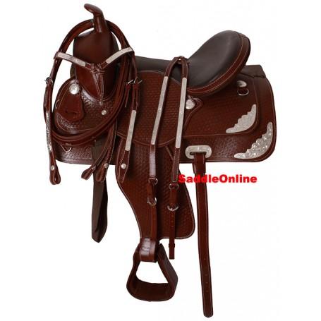 Tooled Gorgeous Mahogany Show Western Horse Saddle 16