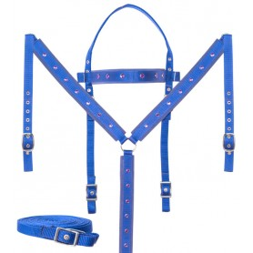 Blue Barrel Racing Crystal Show Synthetic Nylon Western Horse Tack Set