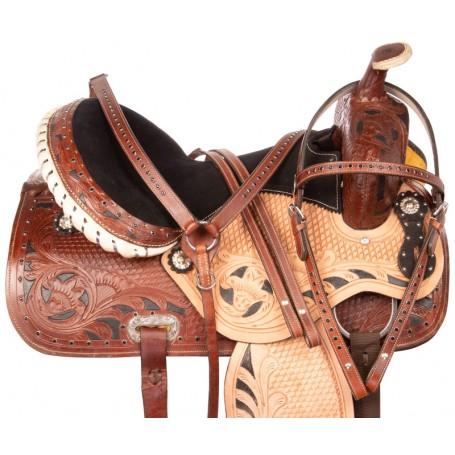 Black Inlay Crystal Barrel Racer Western Horse Saddle 16 17 18