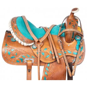 Blue Crystal Barrel Racing Western Trail Horse Saddle 15 17