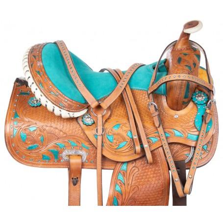 Blue Crystal Barrel Racing Western Trail Horse Saddle 15 16