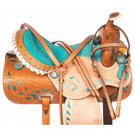 Blue Crystal Inlay Barrel Racing Western Horse Saddle 15 16