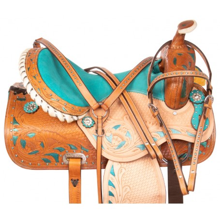 Blue Crystal Inlay Barrel Racing Western Horse Saddle 15 16
