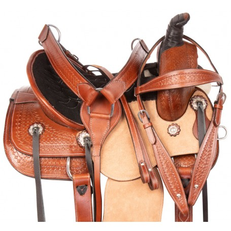 Youth Kids Rough Out Ranch Roping Western Leather Horse Saddle Tack Set