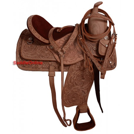 New 17 Natural Hand Carved Western Saddle With Tack
