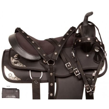 Synthetic Black Texas Star Show Horse Saddle Tack 14 18