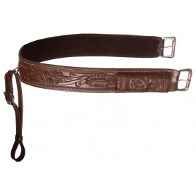 Brown Western Leather Tooled Horse Saddle Back Cinch Bucking Strap Buckle