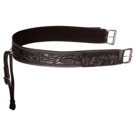 Black Leather Tooled Western Horse Saddle Back Cinch Rear Girth Bucking Strap Buckle