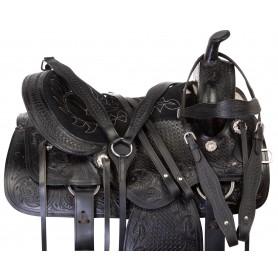 Black Tooled Leather Pleasure Trail Horse Saddle Tack 18