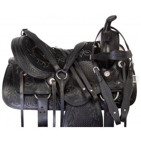 Black Tooled Leather Pleasure Trail Horse Saddle Tack 15 18