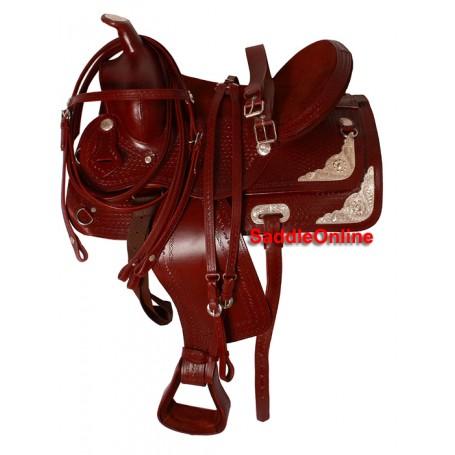 16  Mahogany Show Western Horse Saddle W Silver Tack