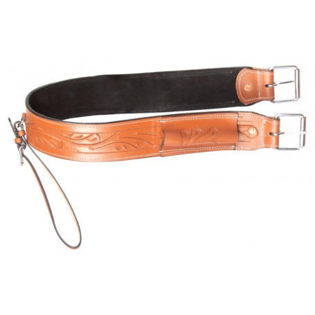 Chestnut Fern Tooled Western Leather Horse Saddle Back Cinch Rear Girth Bucking Flank Strap Buckle