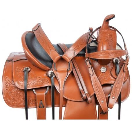 Amazingly Comfortable Western Trail Endurance Premium Leather Horse Saddle Tack Set