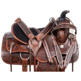 Antique Oil Roping Ranch Work Comfy Western Leather Horse Saddle Tack Set