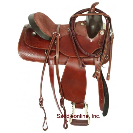 15 Mahogany Western Pleasure Trail Saddle W Rough Out Seat