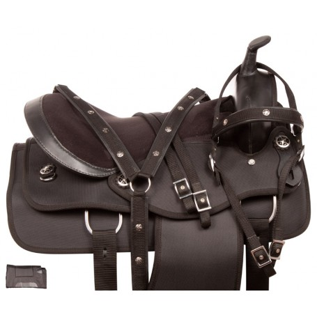 Black Western Pleasure Trail Synthetic Light Weight Horse Saddle Tack Set