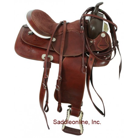 16 Mahogany Western Pleasure Trail Saddle W Rough Out Seat