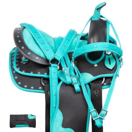 Turquoise Pony Crystal Western Synthetic Youth Kids Saddle Tack Set