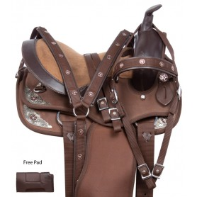 Brown Silver Show Youth Kids Western Pony Or Horse Saddle Set 10 13