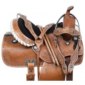 Crystal Show Premium Western Barrel Racing Trail Leather Horse Saddle Tack Set