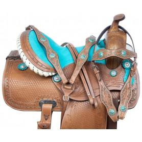 Premium Western Barrel Racing Crystal Show Trail Leather Tooled Horse Saddle Tack Set