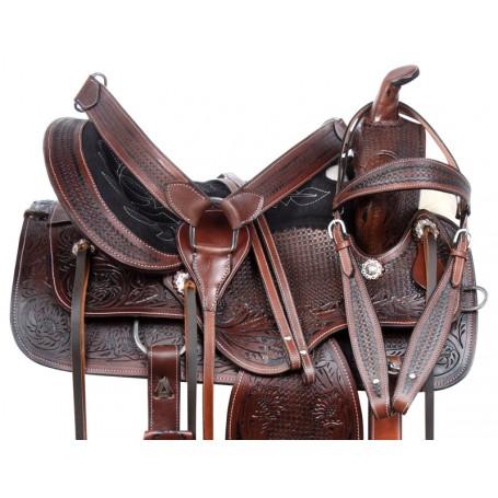 Antique Western Pleasure Trail Horse Saddle Tack 16 18