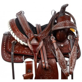 Youth Kids Western Leather Tooled Roping Ranch Horse Saddle Tack Set