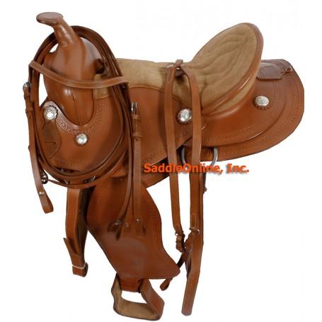 Tooled Western Horse Trail Endurance Saddle & Tack 16 17