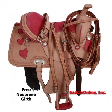 Pink Heart Western Tooled Barrel Saddle 15 16