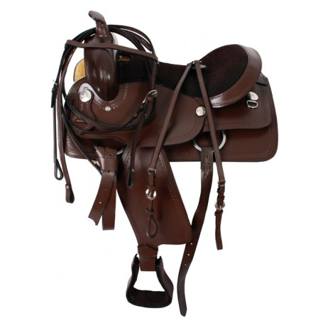 Unique Used Brown Trail Saddle & Head Stall Set 15-16