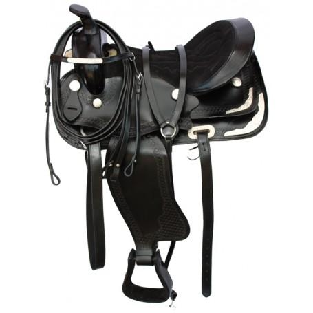 Black Show Western Deep Padded Seat Saddle Tack 15 17