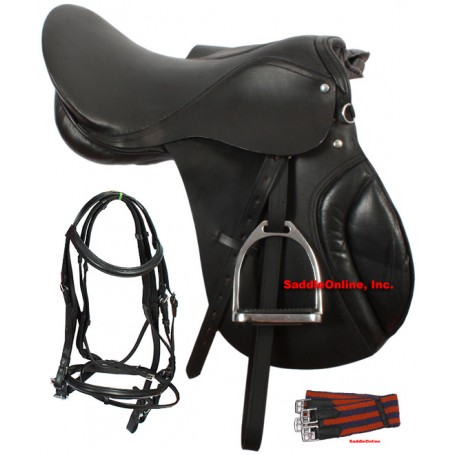 16-17 Black All Purpose English Saddle Package