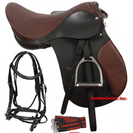 16-17 Brown All Purpose English Saddle Package