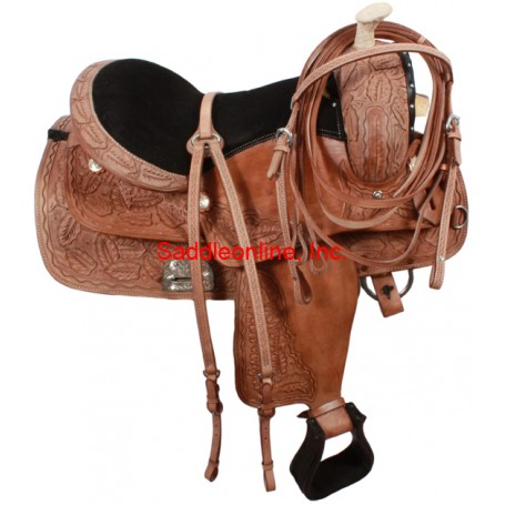 Hand Carved Rawhide Horn Western Trail Work Saddle