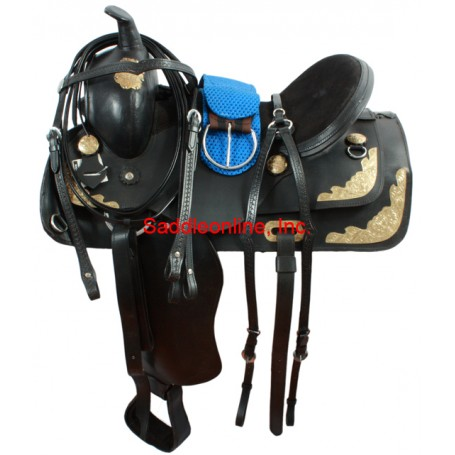 Black Show Saddle Gold Plate Headstall Reins Breast Collar