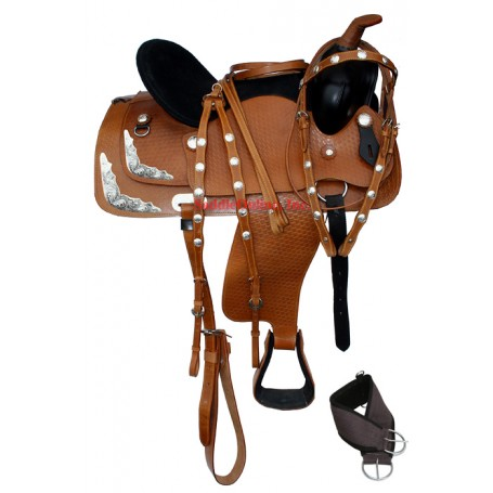 New 17 Golden Show Western Saddle With Tack