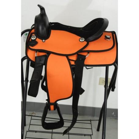 14 Orange Youth Horse Synthetic Saddle