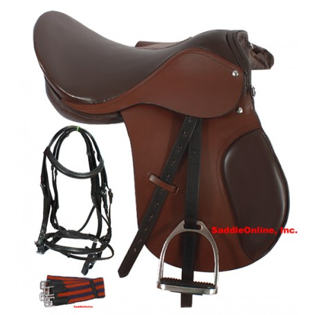New 16 17 Brown All Purpose English Saddle Package