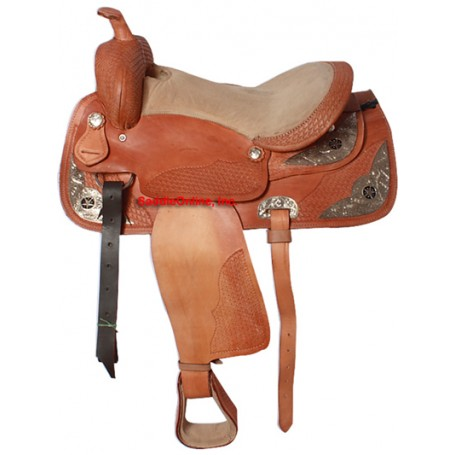 Tooled Western Texas Star Show Saddle 16 17