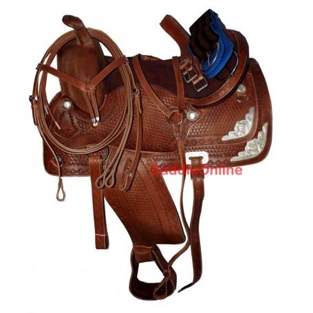 Hand Tooled Western Leather Show Saddle Tack 16